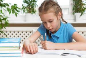 Girl prepping for test
