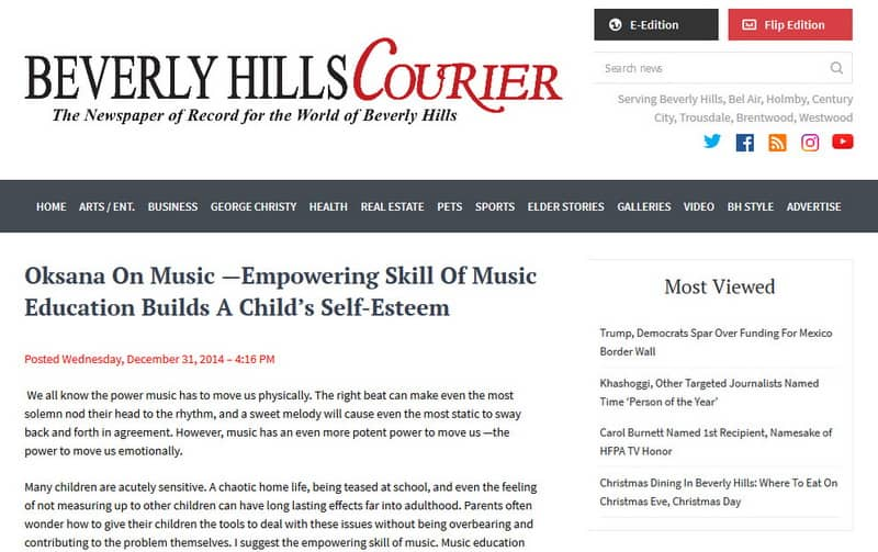 Beverly Hills Courier Oksana on Music